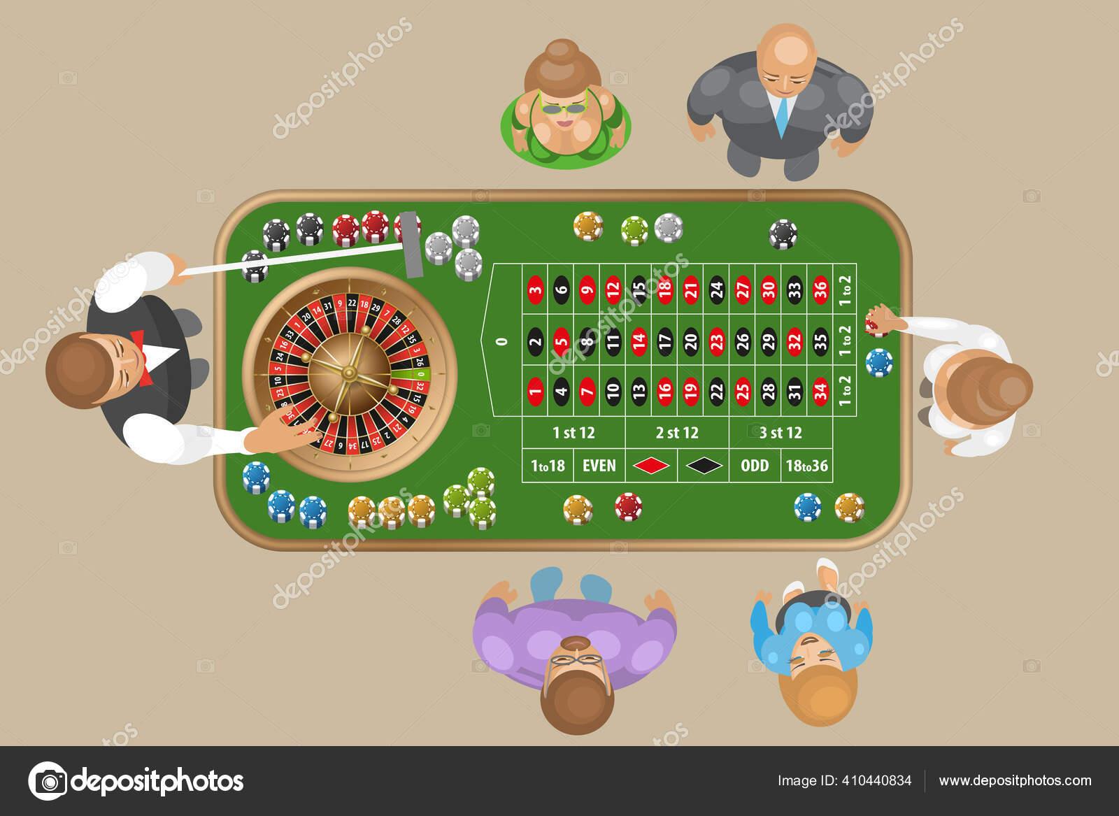 Meja Roulette Kasino Dengan Nomor Meja Roulette Tradisional Eropa Dengan Stok Vektor C Rainbow Hunters 410440834