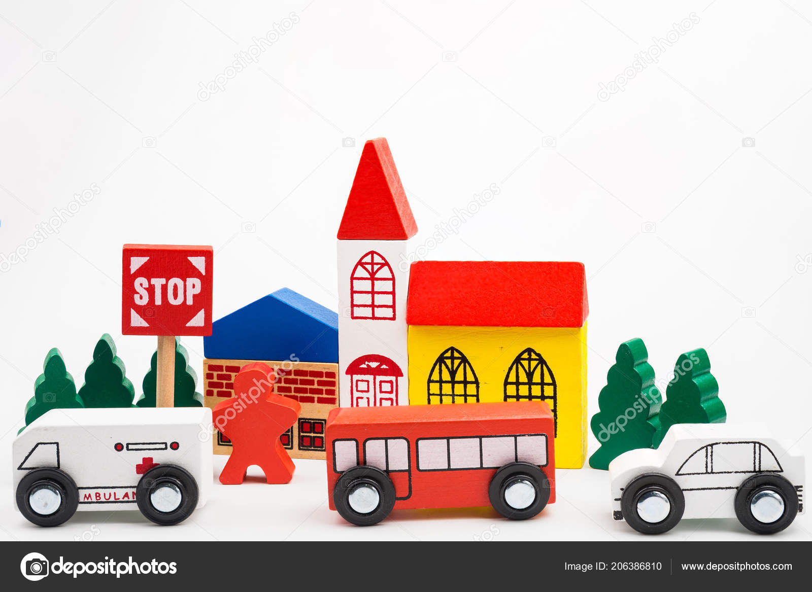 road traffic wooden toy cars town white background safety