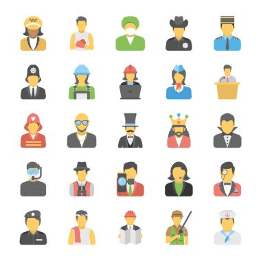 Flat Icons Set of Professions
