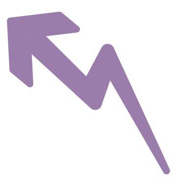 Three dimensional zig zag arrow, rising arrow