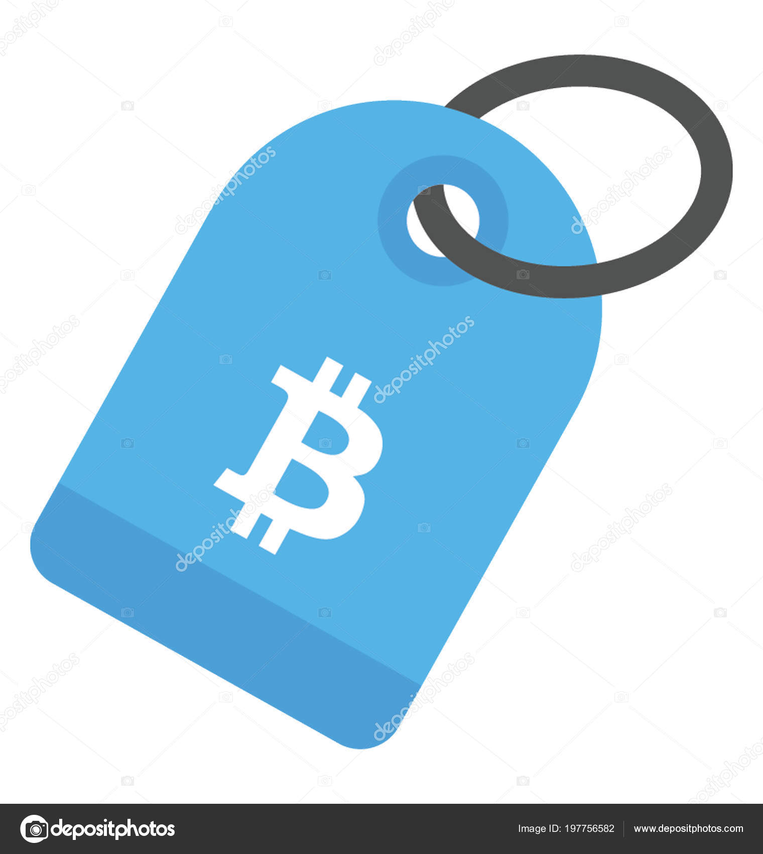 A Keyring With Capital B Stamp Showing Bitcoin Keychain Stock Illustration