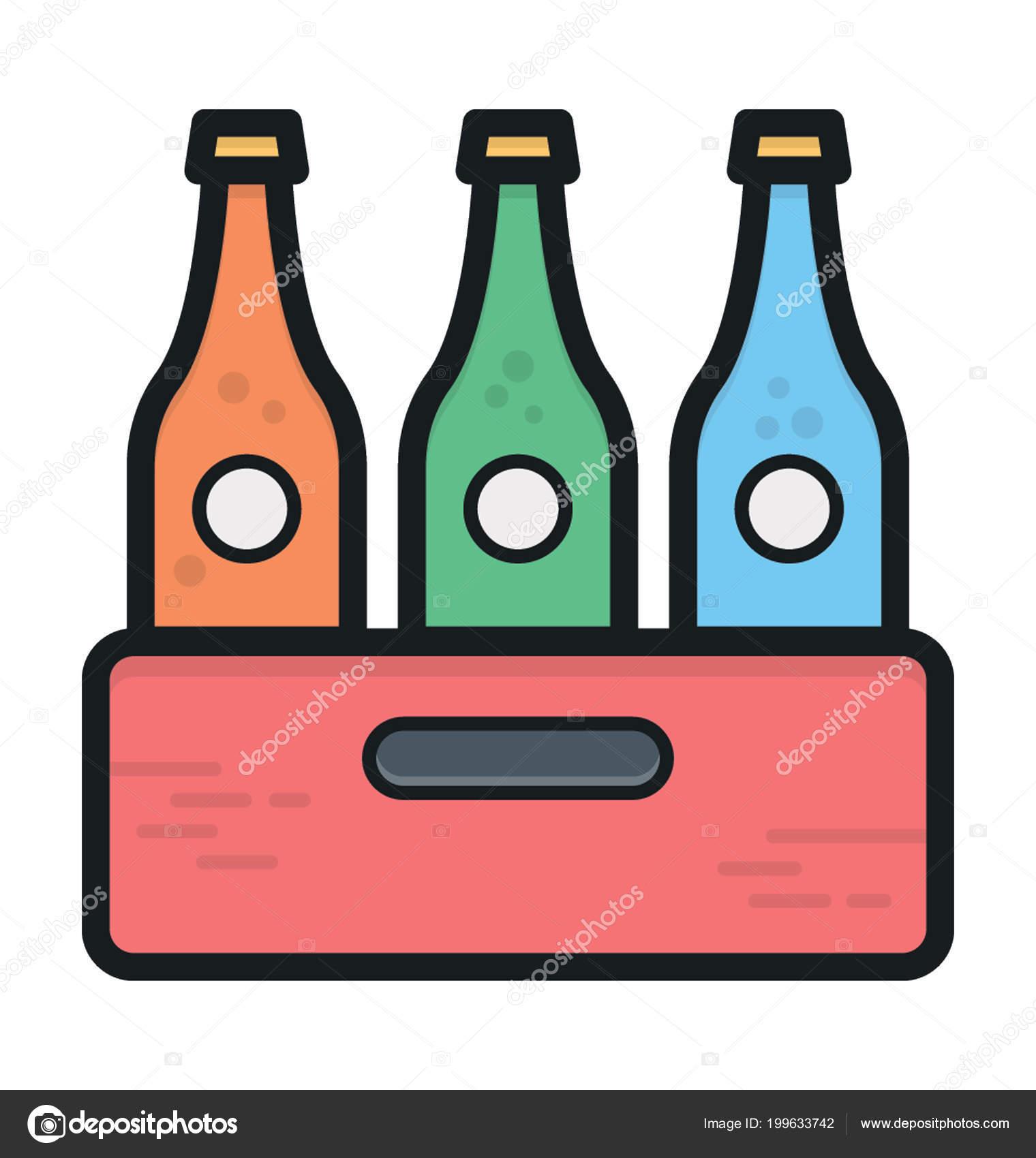 flaschen kiste farbigen vektor icon — stockvektor © creativestall