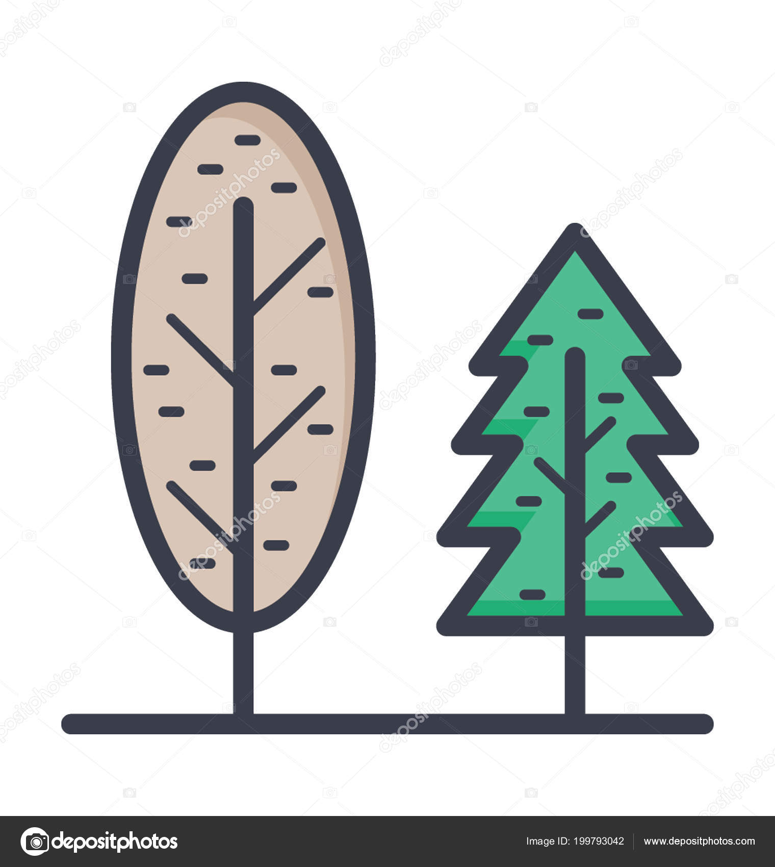 evergreen trees colored vector icon � stock vector