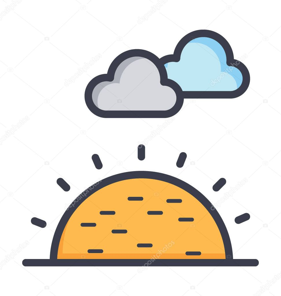 Sunny Clouds Colored Vector Icon