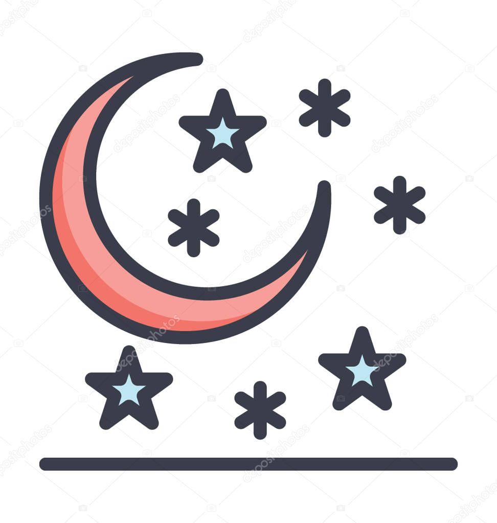 Winter Night Colored Vector Icon