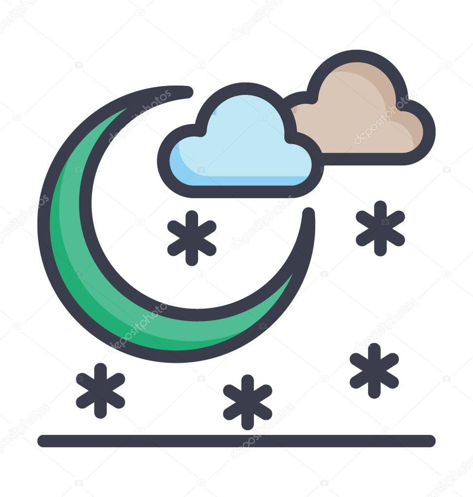 Cold Night Colored Vector Icon