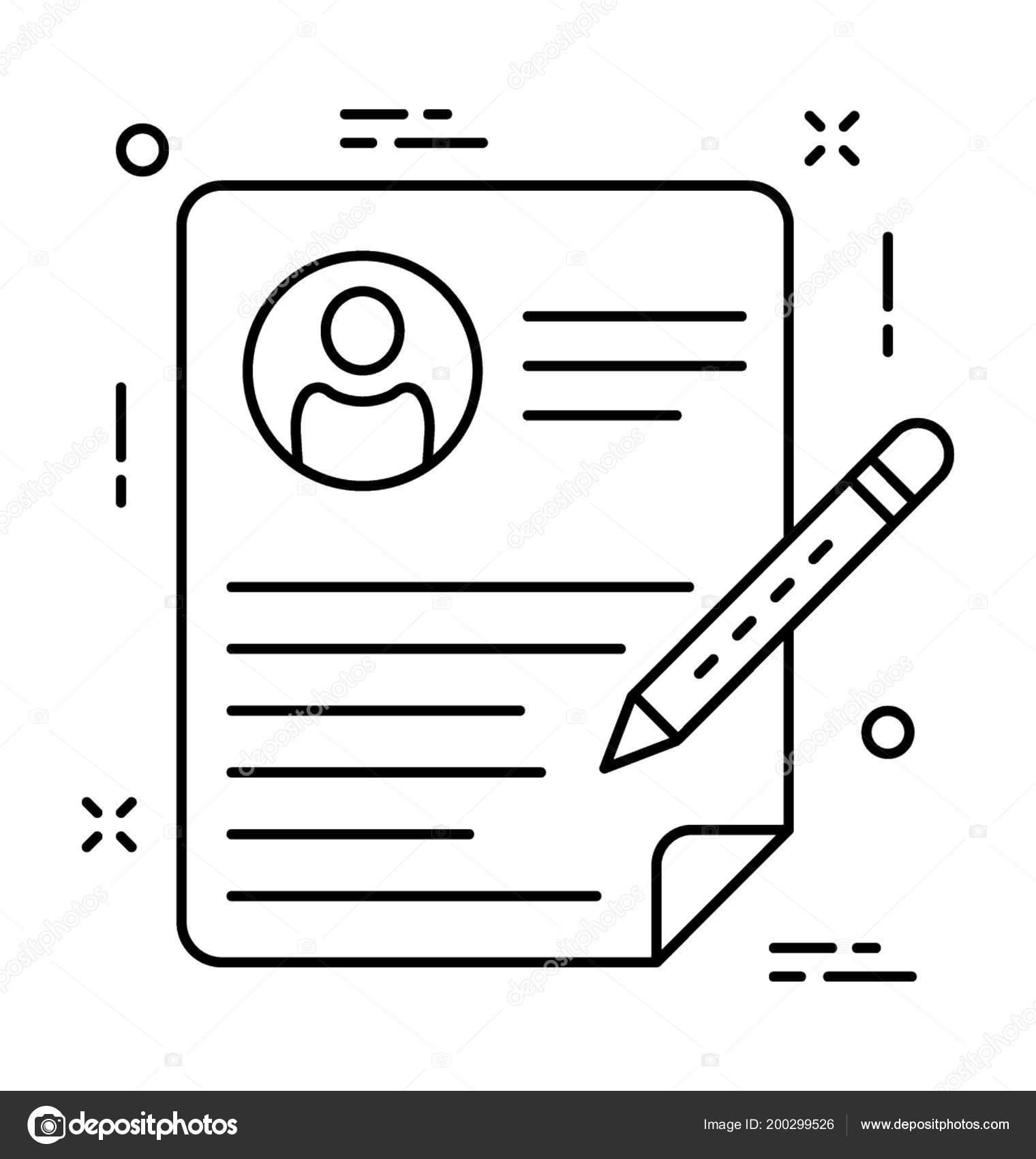 Reanudar Escritura Línea Vector Icono — Archivo Imágenes Vectoriales ...