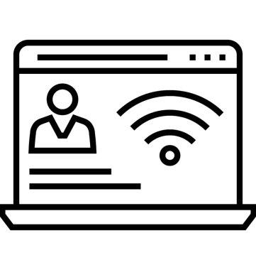 Online Presence Management Line Vector Icon