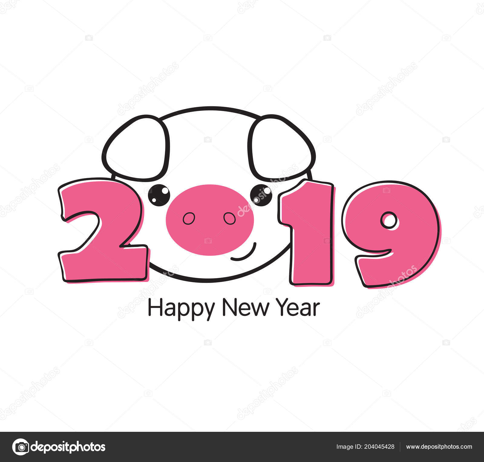 vector illustration happy new year 2019 funny card design cartoon stock vector
