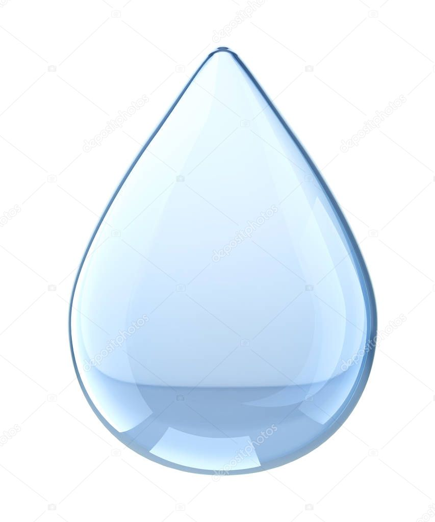 Water Drop. Isolated on white background. 3D illustration