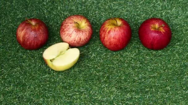 top view apples on grass