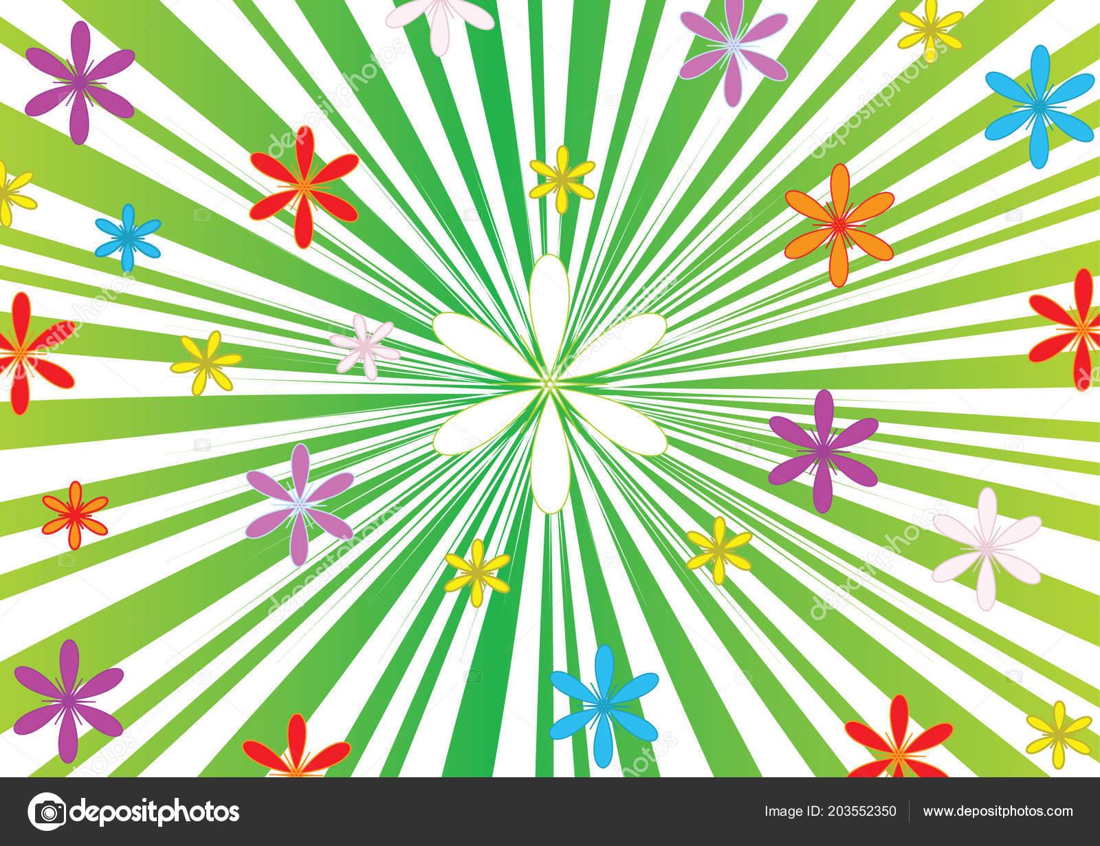 Sfondo Verde Con Fiori Sfondo Con Fiori Vettore Formato Jpg