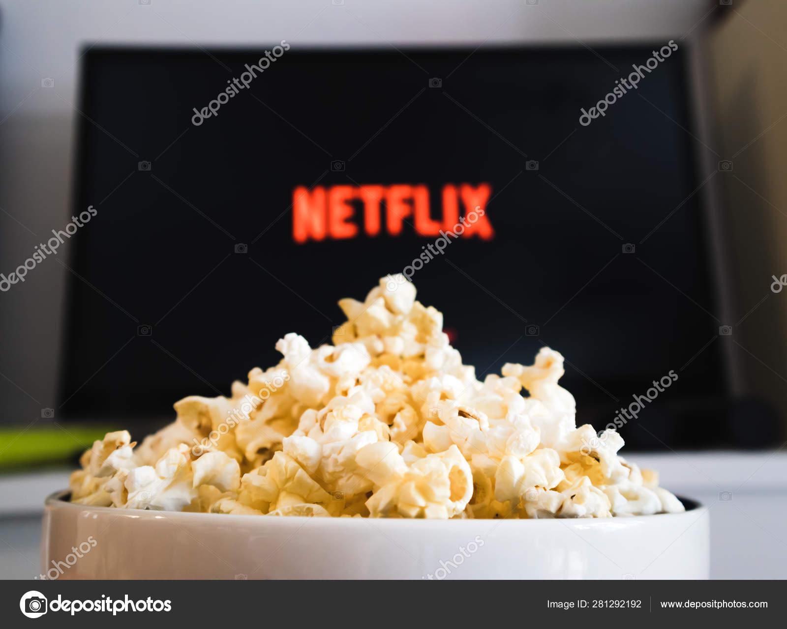 CHIANGMAI, THAILAND - JULY 5, 2019- Popcorn bowl and Netflix