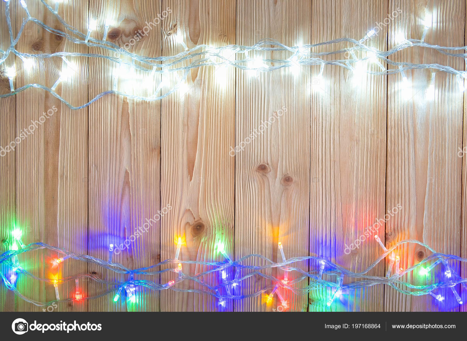 Fancy Blinker Light Bulbs Garlands Wreath Wood Table Christmas New — Stock Photo