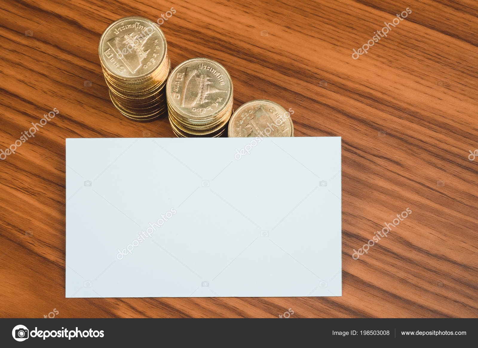 Blank business card name card space add text name address stock blank business card or name card with space for add text name address and logo stack of coin on working table financial company concept idea colourmoves