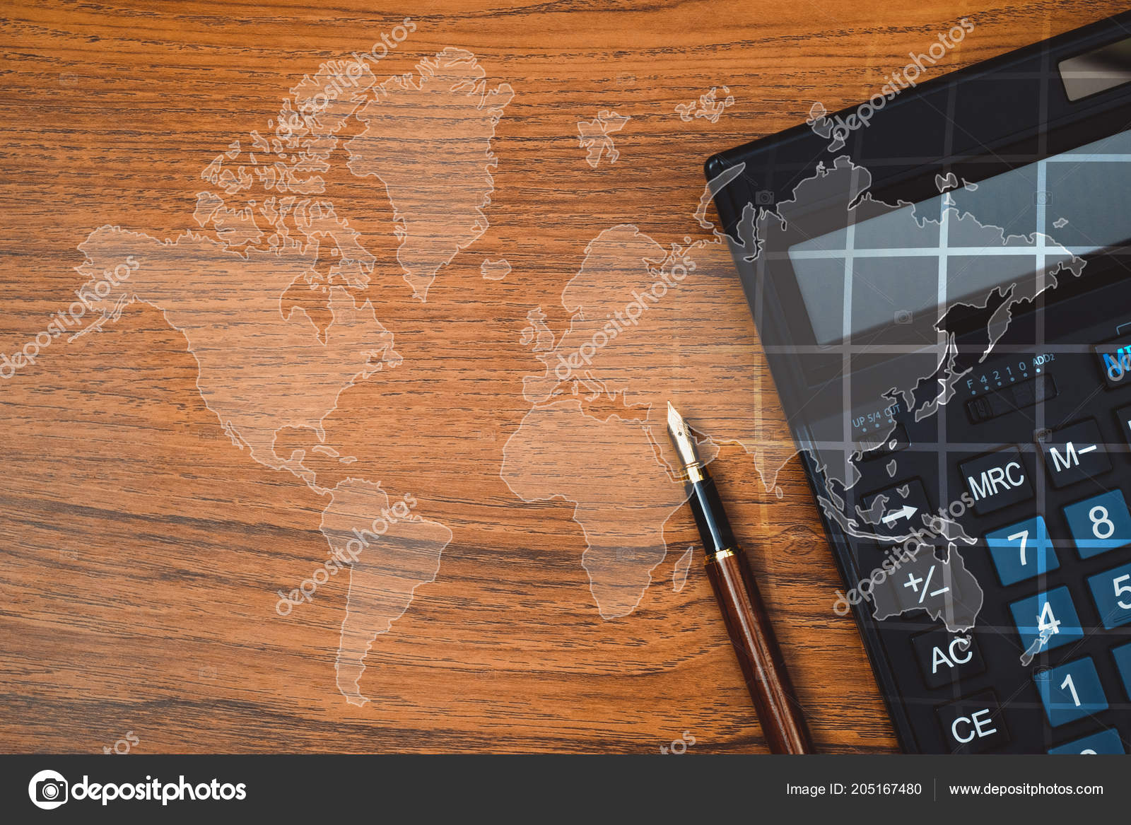 Double exposure fountain pen ink pen calculator table world map double exposure of fountain pen or ink pen with calculator on table with world map office desk concept idea element by nasa photo by pookpiik gumiabroncs Images