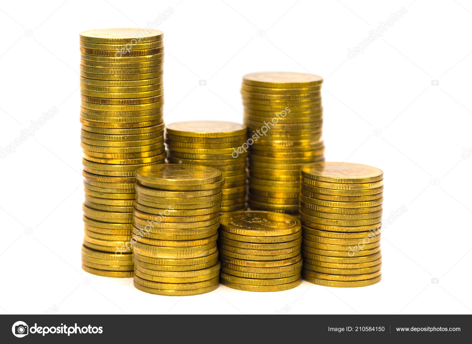 Columns Coins Piles Coins White Background Business