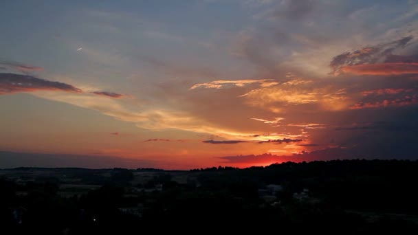 timelapse of sunset sky, TIME-LAPSE SUNSET IN A BIG ORANGE AND BLUE SKY,  sun rays through clouds, unset background, sunset landscape,
