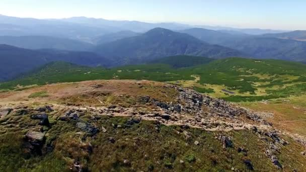 aerial view of slopes of the Carpathian Mountains, mountain valley aerial,  rocks and treesat  the background mountains, Flying over mountains and hills with wild forest