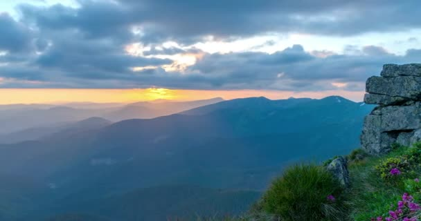 Sky in the mountains time lapse, Summer landscape in mountains and dark blue sky, Amazing mountain view landscape on a sunny day, with clouds moving, sun shining and beautiful green hills time lapse