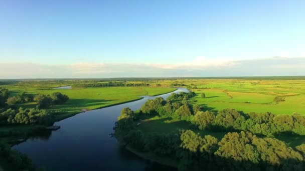 Aerial view of river,  Beautiful Landscape of Green Fields and river, Flying over the beautiful River in flatland