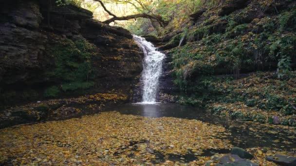 Autumn waterfall, waterfall and autumn foliage, waterfall in autumn colors