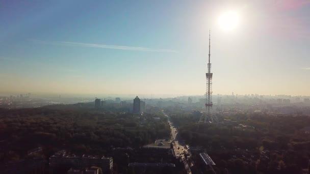Bir Tv kulesi ile Cityscape, şehir sabah manzara havadan görünümü, Kiev şehir, Kiev havadan görünümü. Ukrayna. Havadan görünüm. Kiev, şehrin hattı