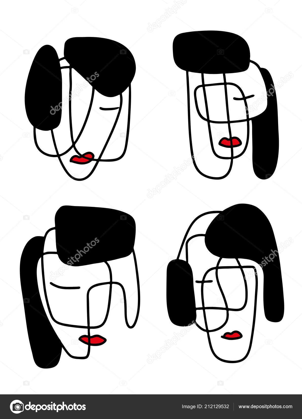 Abstract Portraits Vector Illustration Minimalistic Line Art
