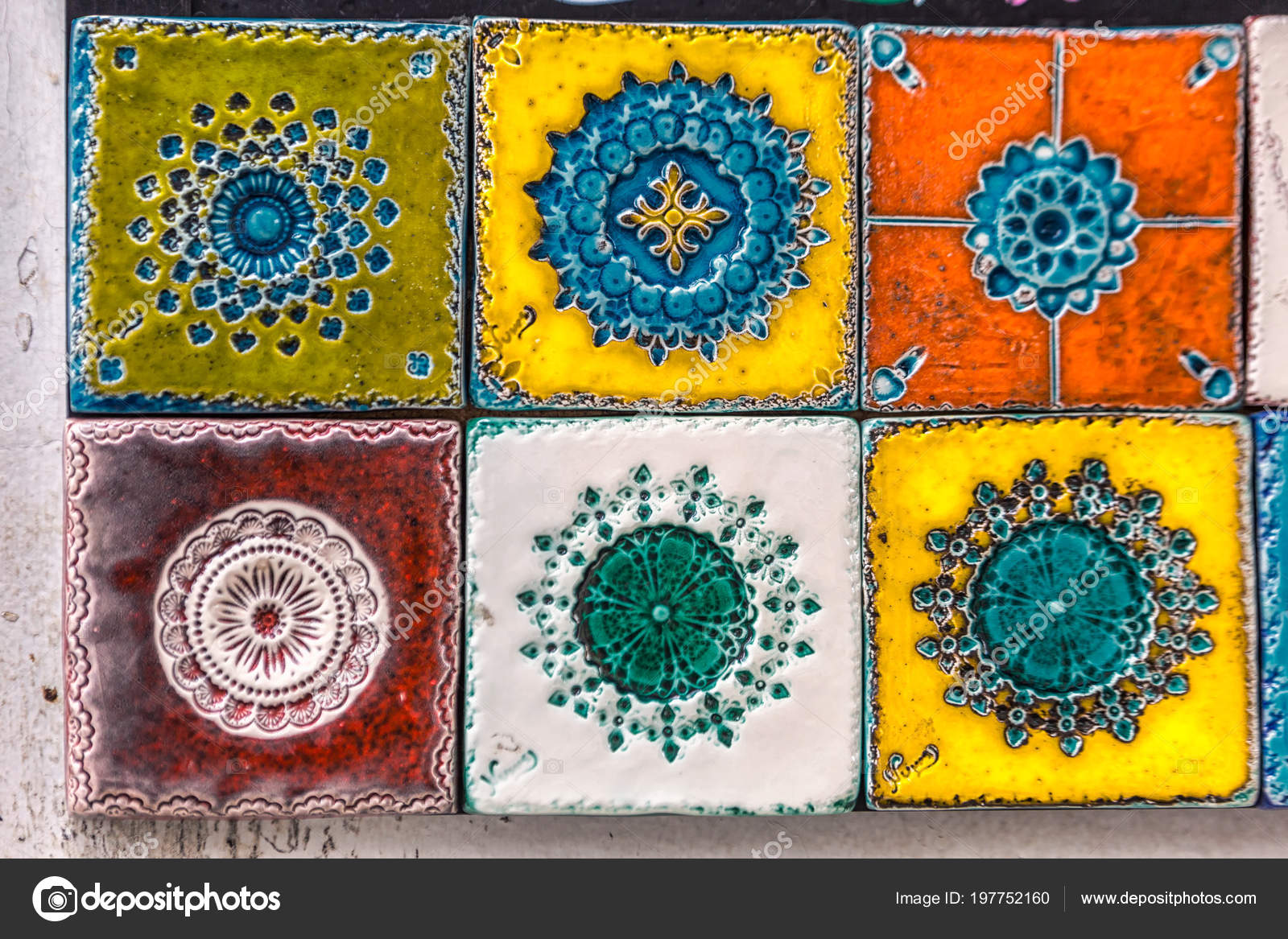 Typical Traditional Decoration Facades Lisbon Traditional Handmade Ceramic Tiles Azulejos Stock Photo C Ruslankal 197752160