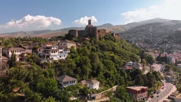 Gjirokastra Castle Albania drone view