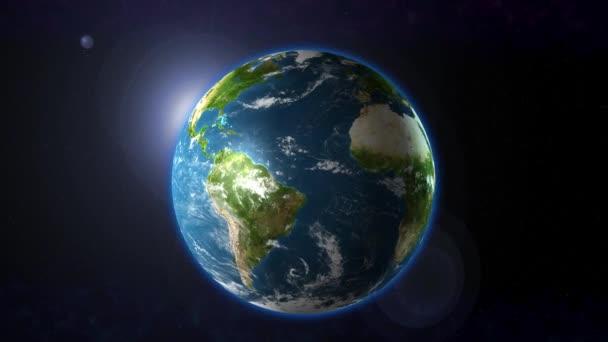 Planet Erde im All mit Sonnenlicht