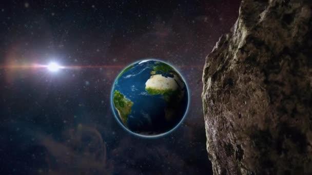asteroid nebo meteor letí vesmírem k zemi, pár minut před pádem