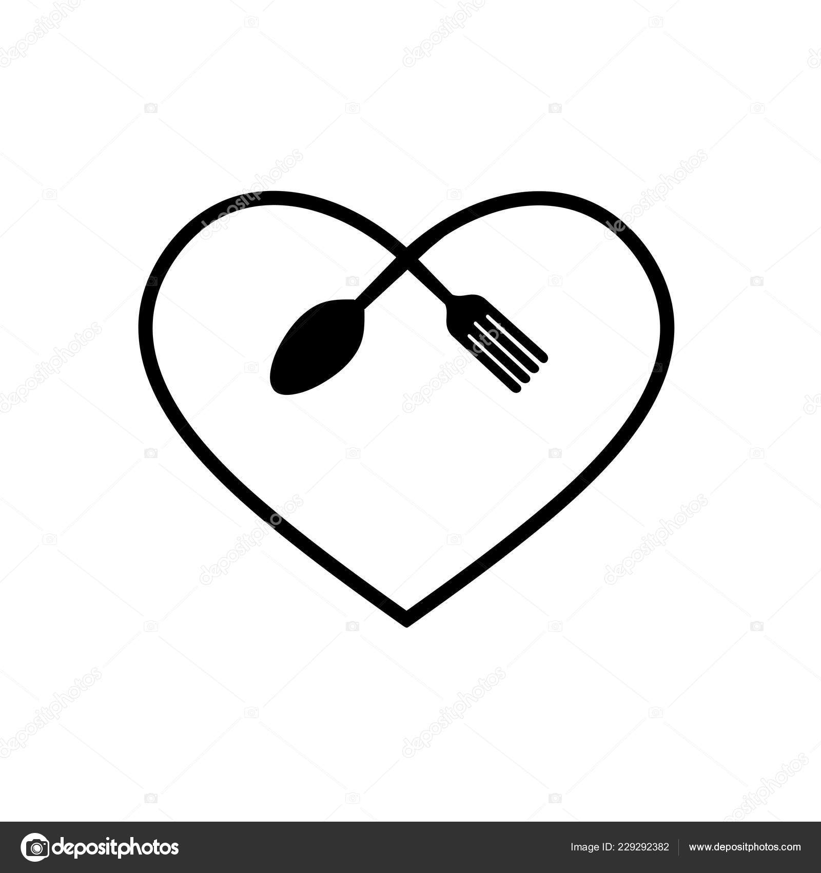 Love Food Modern Style Logo Design A Spoon Knife And A Fork In The Shape Of A Heart Stock Vector C Dalinas 229292382