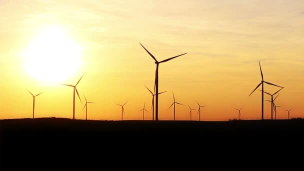 Timelapse Of Wind Turbines Over Sunset Sky Generating Electricity. Sustainable Energy Power Generators, Renewable Power Supply