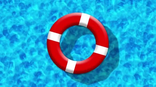 Sommerurlaub im Schwimmbad mit aufblasbarem Ring auf blauer Wasseroberfläche