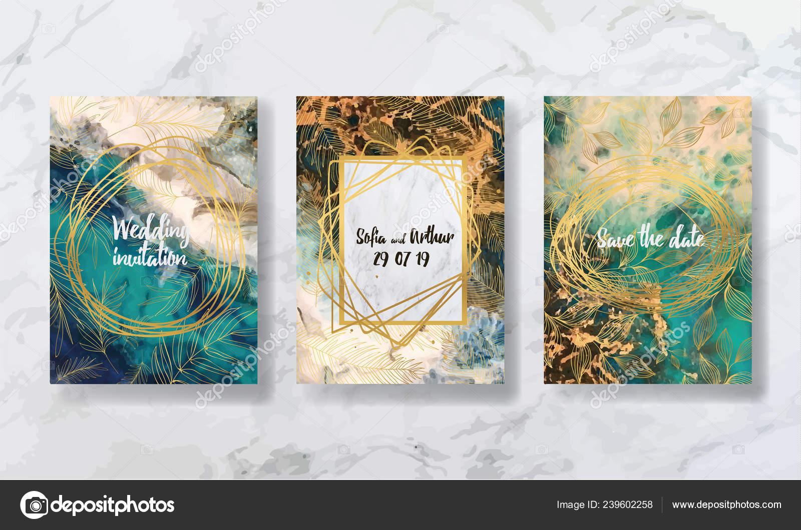 Flüssiger Marmor Mit Gold Flyer Visitenkarten Flyer