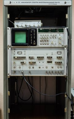 Close up of Oscilloscope in details  - Laboratory electric measurement apparatus and measuring instrume stock vector