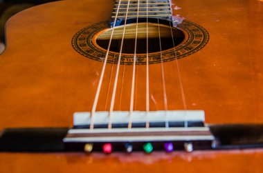 close up of wooden classical guitar