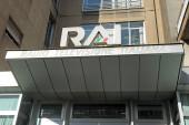 Itálie - Milan březen1,2018 - centrála rai v Corso Sempione - televizní antény