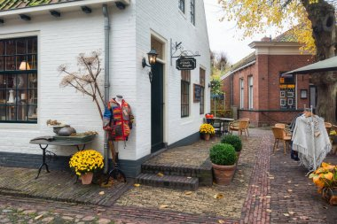 Bourtange, The Netherlands, November 7, 2017:  Shops in Bourtange, a Dutch fortified village in the province of Groningen in the north of the Netherlands
