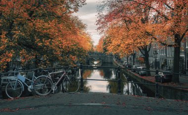 Amsterdam canal with its bridges in beautiful fall colors in the old center of Amsterdam