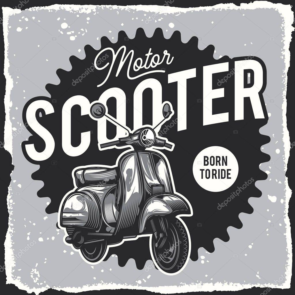 Classic Scooter Vector Illustration Design For Emblem Or T Shirt Premium Vector In Adobe Illustrator Ai Ai Format Encapsulated Postscript Eps Eps Format