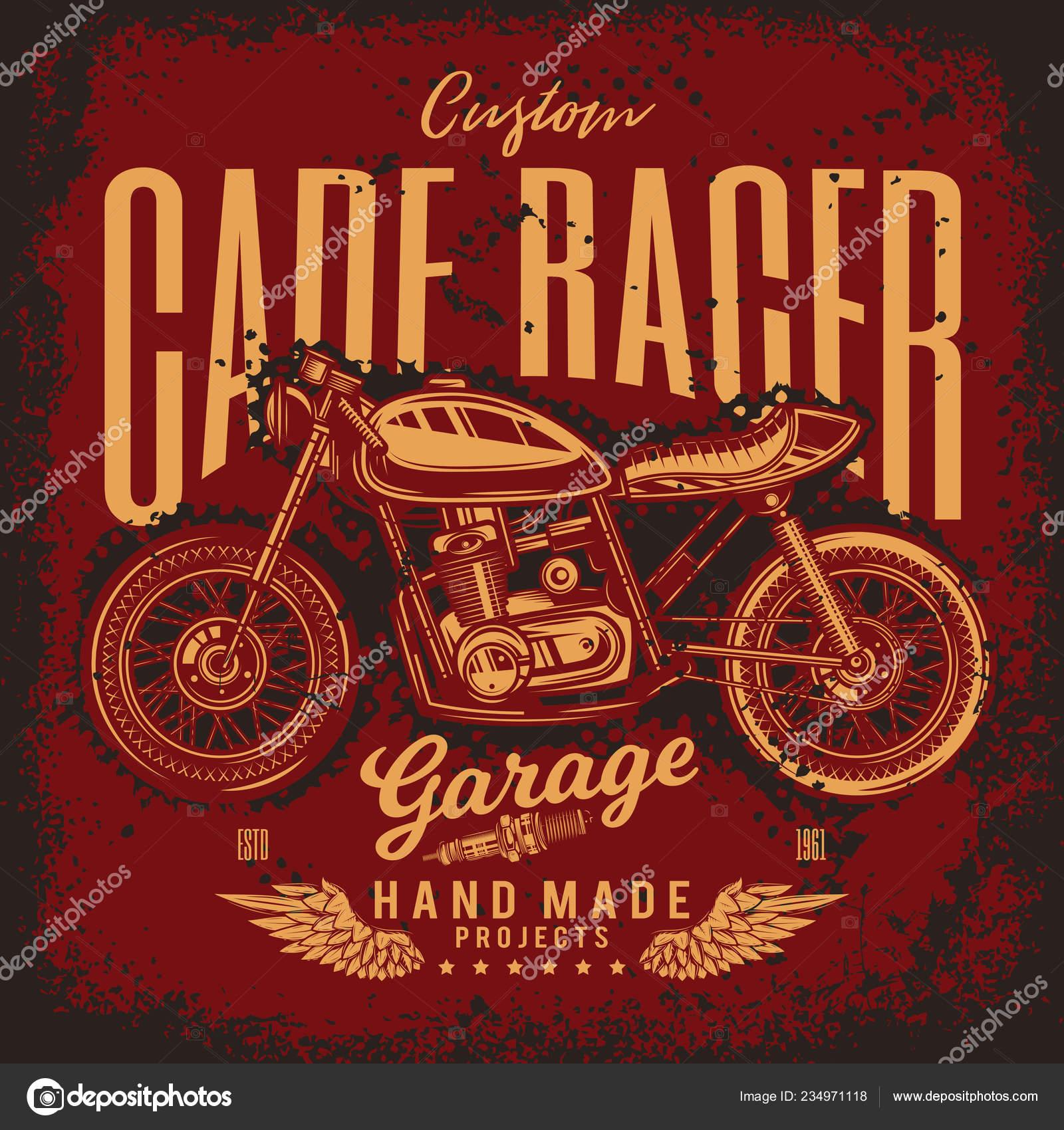 Vintage Cafe Racer Motorcycle Poster Vector Illustration Shirt Design Stock Vector C Rakhimovedgar 234971118