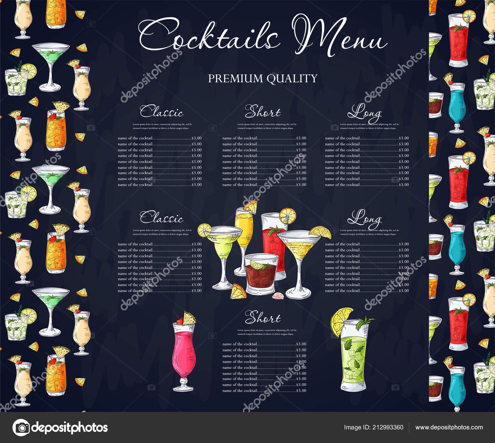 Alkohol Getränkekarte Bar Broschüre Vorlage Für Café Oder