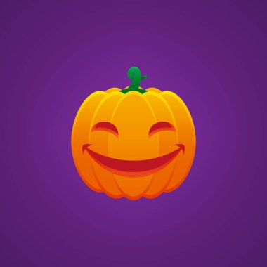 Halloween Jack O Lantern Pumpkin Expression Smiling Mouth and Eyes Emoticon Vector Design icon