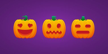 Halloween Jack O Lantern Pumpkin Expression In Love Grimacing Expressionless Bundle Vector Bundle icon