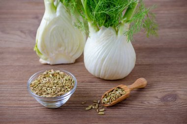 fennel bulb and seeds in a scoop and bowl on wooden background