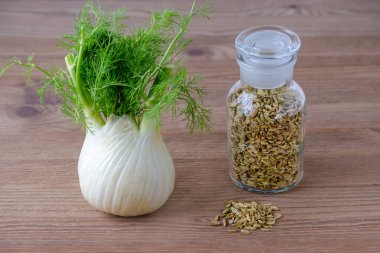 fennel bulb and seeds in a glass jar on brown wooden background