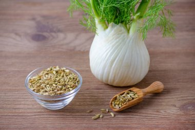 fennel bulb and seeds in a wooden scoop and glas bowl on brown background
