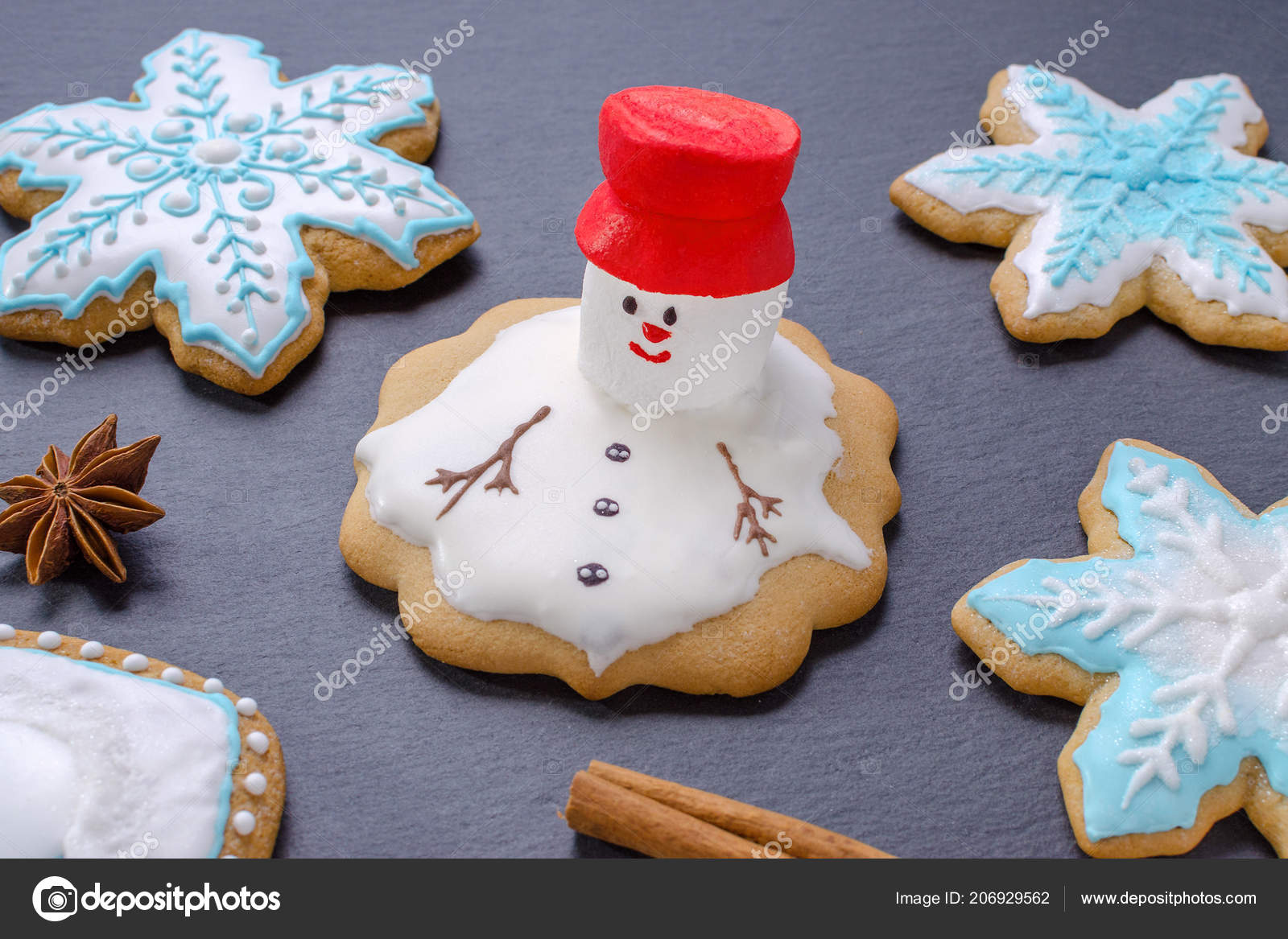 Snowman Gingerbread Cookies Handmade Christmas Cookies Melted
